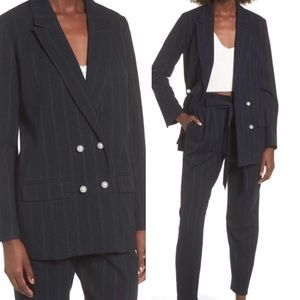 Leith Navy Pinstriped Boyfriend Blazer Large